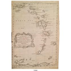 British copperplate-engraved map of the eastern Caribbean Islands (Lesser Antilles) dated 1756 entit