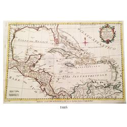 "Italian copperplate-engraved map of the Caribbean dated 1777 entitled ""Carta del Golfo del Messico,"