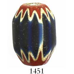 "Large glass ""chevron"" trade bead, intact, very rare provenance. Recovered from: Unidentified ca.-154"