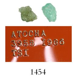 Small, natural emerald, 3.18 carat, along with a similar emerald from the Geronimo wreck of 1751.