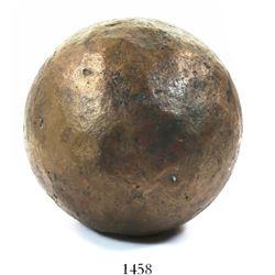 Bronze cannonball, rare. Capitana, sunk in 1654 off Chanduy, Ecuador
