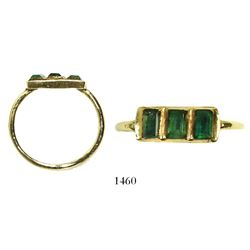 Gold ring with three high-quality emeralds from the Spanish 1681 Fleet