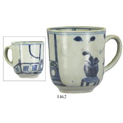 Intact blue-on-white Chinese porcelain cup with handle, Kangxi period, very rare provenance.
