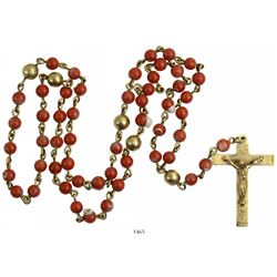 Gold and red-coral rosary, complete and intact. Spanish 1715 Fleet, east coast of Florida