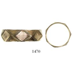 Gold ring with diamond pattern. Spanish 1715 Fleet, east coast of Florida