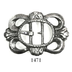 Ornate silver shoe buckle. Spanish 1715 Fleet, east coast of Florida