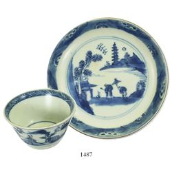 Chinese blue-on-white porcelain teacup and saucer, Kangxi period.