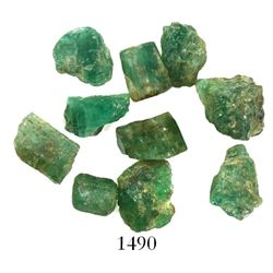 Lot of 10 natural emeralds, ex-Bobby Allison's Sunken Treasure museum. San Geronimo, sunk in 1751 of