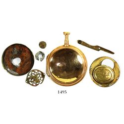 "French gold pocket-watch remnants marked with ""Ami Melly / A Paris,"" rare."