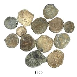 Lot of 13 small lead seals of the mid-1800s (one possibly earlier).