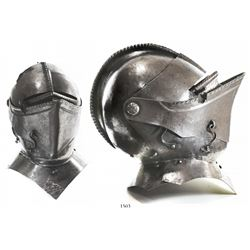 European steel closed helmet, 1600s-1700s.