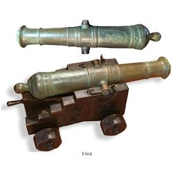 Spanish brass cannon made in Barcelona, dated 1766, showing Charles III monogram, on antique replica
