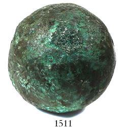 Small bronze cannonball found off the coast of Veracruz, Mexico, Spanish colonial (1600s-1700s), rar