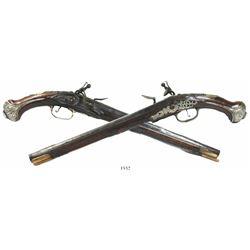 Pair of European flintlock pistols, 1700s.
