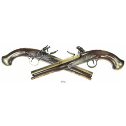 Matched pair of British naval officer's flintlock pistols with brass barrels, ca. 1800.