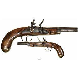 European flintlock boarding pistol, early 1800s.