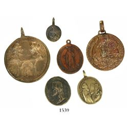 Lot of six copper religious medallions, probably 1800s, rumored to be from shipwrecks.