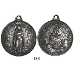 French, round, silver religious medallion with hand-engraved date 1882 and name, rumored to be from
