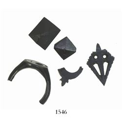 Lot of 5 small pieces of carved jet (black wood), including most of a religious ring with a cross de