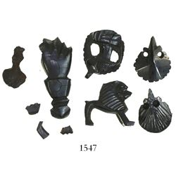 Lot of 5 small pieces of carved-jet (black wood) figurines, Spanish colonial (1500s).