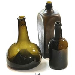 "Lot of 3 glass bottles of three different (and popular types): Dutch ""onion"" bottle, 1720s-1750s; Br"