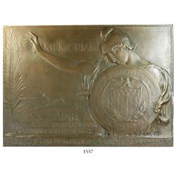 Large bronze plaque made from the remains of the USS Maine, sunk during the Spanish American War in
