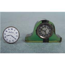 2 Vintage Clock /Watch Items Cufflink, Pencil Sharpener