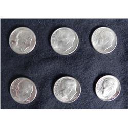 6 Gem UNC Toned 1946 Roosevelt Dimes, Outstanding Coins