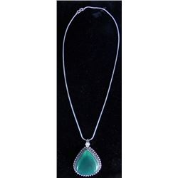 Green Onyx German Silver Pendant Necklace With Chain