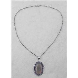 Smokey Quartz Sterling Oval Pendant Necklace