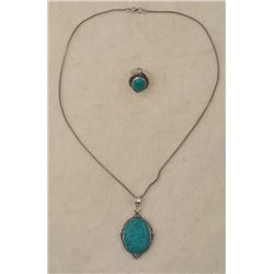 Turquoise 2 Pc Sterling Ring, Pendant Necklace Set