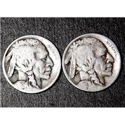 2 Buffalo Nickels 1923-S 1924-D Nice Coins