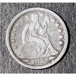 1855 US Seated Liberty Dime Squiggle ERROR .10 Coin Ten