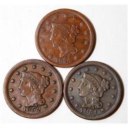 3 H Grade Good Strike Large Cents 1843 1851 1852 Penny