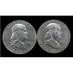 2 High-Grade Franklin Silver Half Dollars