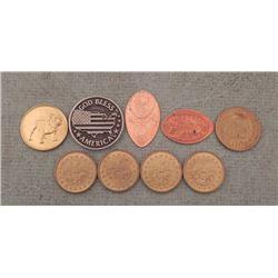 Lot of 9 Medal, Tokens, Elongates -Patriotic, Railroad