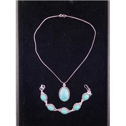 Turquoise 2 Pc Sterling Bracelet & Pendant Necklace Set