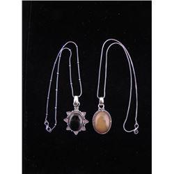 2 Sterling Pendants Amber, Smokey Quartz Necklaces