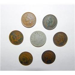 6 Nice Grade Indian Cents 1898-1907 and 1895 V Nickel