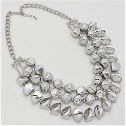 Rhodium Earring/Necklace Set w/Large Stones