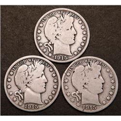 1915 1915-D 1915-S Barber Silver Half Dollars Key Date