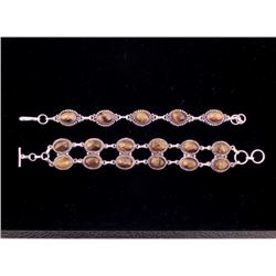 2 Carnelian Sterling Silver Bracelets, 1 Double Strand