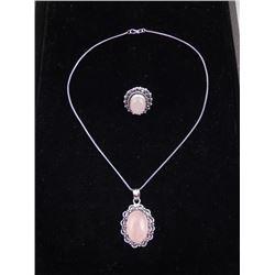 Rose Quartz 2 Pc Sterling Ring & Pendant Necklace Set