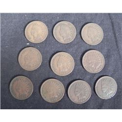 10 Indian Cents VG to Fine, 8 Diff Dates 1899-1908