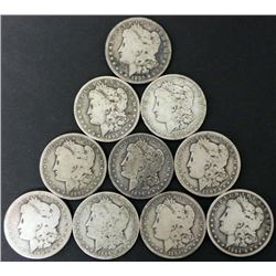 """10 Different Date Mint Marked """"O"""" Morgan Silver Dollars"""