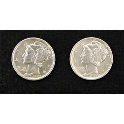 2) GEM UNC Mercury Silver Dime Coins 1942-S and 1943
