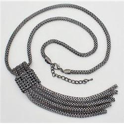 Hematite Necklace & Earrings Set Dangling Style