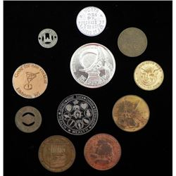 11 Train/Transportation Tokens and Comm. Coins