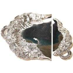 Vintage Floral Filigree Silver Plated Crumb Catcher