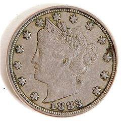 1883 Liberty V Nickel Very High Grade US .05¢ Coin
